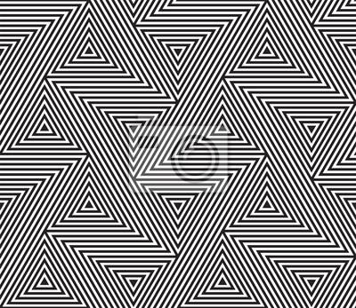 Motif géométrique abstrait vecteur de lignes de grille mosaïque triangle sans soudure et motif illusion d'optique enchevêtrement