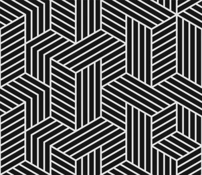 Motif géométrique abstraite sur fond noir de vecteur avec motif de lignes sans soudure mosaïque blanche