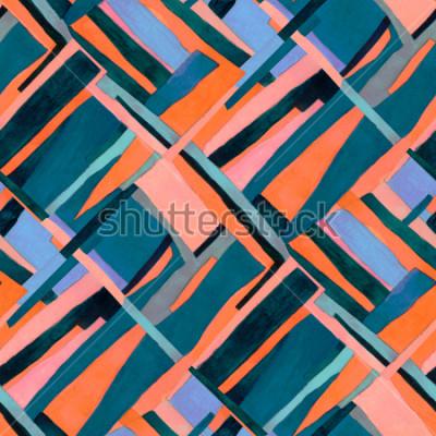 Papiers peints Motif géométrique sans soudure avec des rayures multicolores et des sarcelles. Tendance abstrait contemporain.