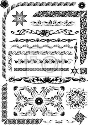 motif graphique avec des éléments végétaux et floraux en art nouveau st