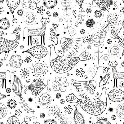 Papiers peints Motif graphique homogène des animaux fabuleux