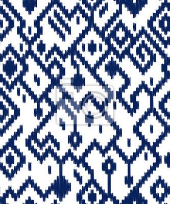 Motif Ikat Geometrique Abstraite Ethnique En Bleu Et Blanc Vecteur
