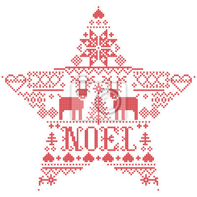 Motif Noël de vecteur Noel inspiré par la culture nordique festive et hivernale au point de croix avec coeurs, renne, ornements décoratifs, flocon de neige, arbre de Noël, flocons de neige, neige en f