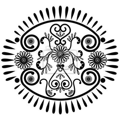 Motif ovale inspiré par la culture asiatique