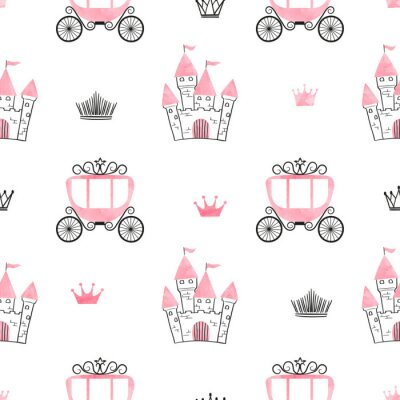 Papiers peints Motif princesse transparente avec des châteaux, des couronnes et des voitures. Fond de vecteur