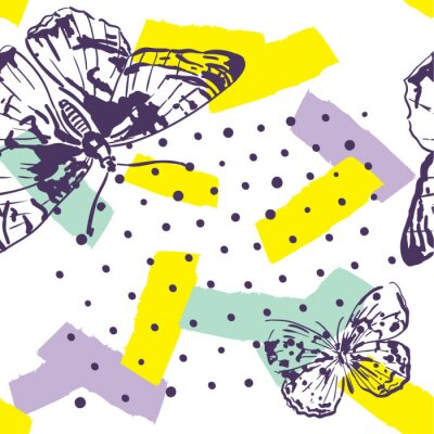 Papiers peints Motif répété avec des insectes. Modèle dernier cri avec des papillons dans un style dessiné à la main. Arrière-plan pour le textile, la fabrication, les couvertures de livre, les papiers peints, l'emb