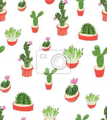 Motif Répété Sans Couture Avec Cactus Sur Fond Blanc Bon Pour