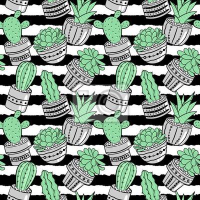 Motif Sans Couture Avec Des Cactus Et Des Fleurs Contexte Vectoriel