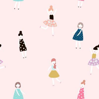 Papiers peints Motif sans couture avec les filles de la mode. Fond de vecteur plat de style moderne.