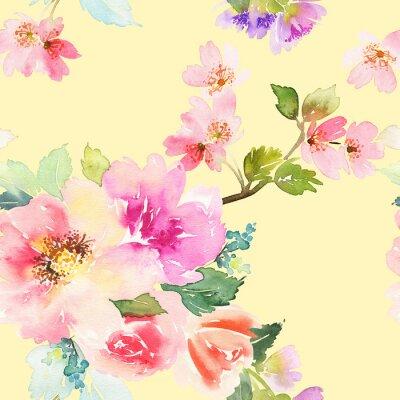 Papiers peints Motif sans coutures avec des fleurs aquarelle. Des couleurs douces.