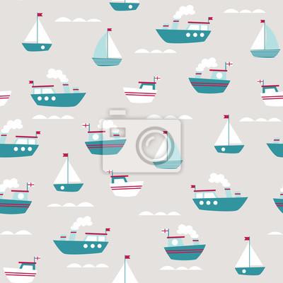 motif transparent avec de jolis bateaux