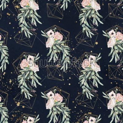 Papiers peints Motif transparent floral aquarelle avec rameaux d'olivier, feuilles, bouquets de fleurs rougir, éclaboussures de peinture et formes géométriques dorées sur fond noir