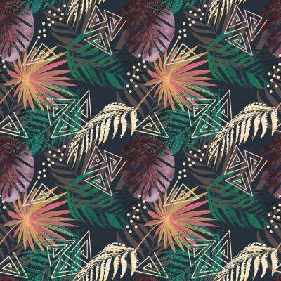 Papiers peints Motif tropical coloré sans soudure. Feuilles d'un palmier, monstera sur un fond sombre.