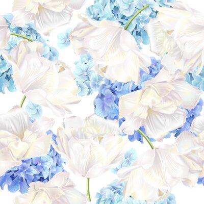 Papiers peints Motif tulipe Hidrangea bleu