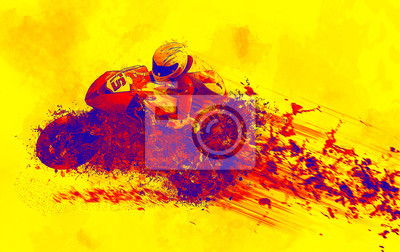 motorcycle motor sport abstract racing rendering sketch yellow background