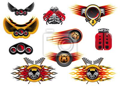 Motorsport et courses icônes colorées