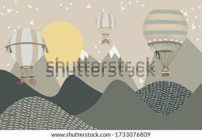 Papiers peints mountains and hot air balloons child room wallpaper