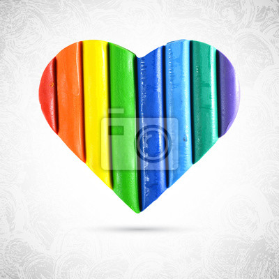 Multicolor valentine heart made with plasticine, red, orange, yellow, green, blue and violet stripes, isolated vector