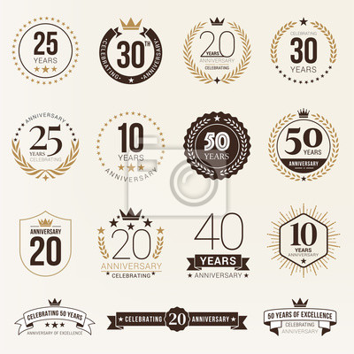Papiers peints Multiple years anniversary celebration logotype. anniversaries logo set