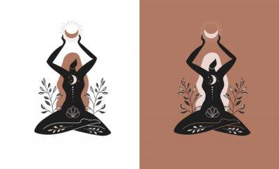 Papiers peints Mystic women, exotic woman, feminine concept illustration, beautiful esoteric women silhouettes . Flat style vector design
