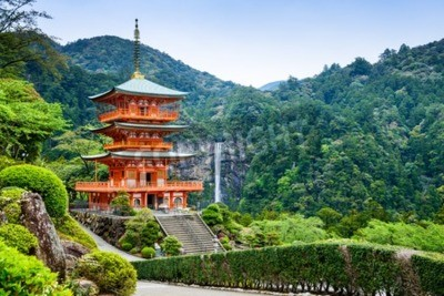 Papiers peints Nachi, Japan at the pagoda of Seigantoji and Nachi no Taki waterfall.