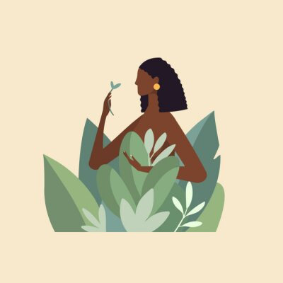 Papiers peints Naked beautiful young woman in big leaves with dark skin and hair. African American girl keep organic green plant. Concept of natural cosmetics for body care and beauty. Illustration in flat design