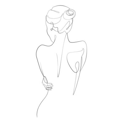 Papiers peints Naked woman standing back one line drawing on white isolated background. Vector illustration