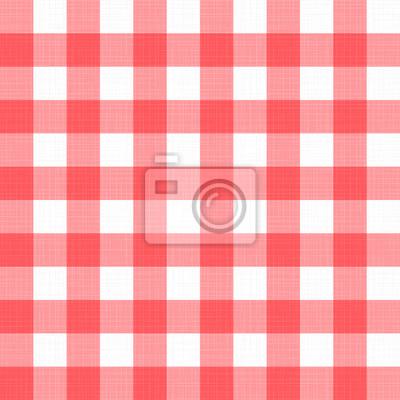 Nappe à carreaux damier de lin Vector. Fond de table transparente tissu rouge blanc avec texture textile naturel. Matériau de tissu de pays rétro pour pique-nique de petit-déjeuner ou dîner de vacance