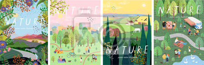 Papiers peints Nature. Cute vector illustration of landscape natural background, village, people on vacation in the park at a picnic, forest and trees. Drawings from the hand of summer and spring