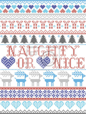 Naughty or Nice Christmas vector pattern with Scandinavian Nordic festive winter pattern in cross stitch with heart, snowflake, Christmas tree, reindeer, forest, star, snowflakes in white,red, blue, g