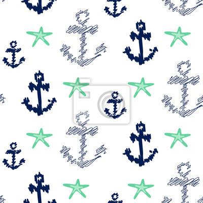 Nautique, ancre, seamless, vecteur, modèle, blanc Scribble ancres bleu marine avec des étoiles de mer de menthe fond pour le tissu textile.