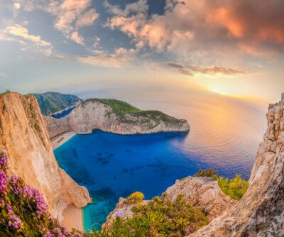 Papiers peints Navagio, plage, naufrage, Coucher soleil, Zakynthos, île, Grèce