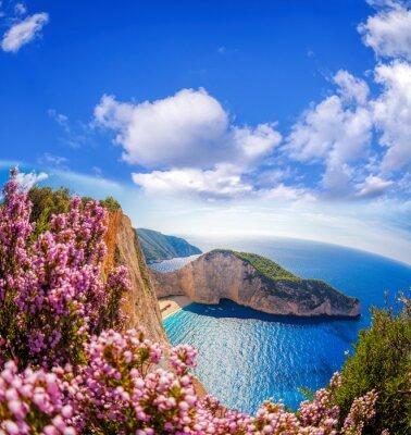 Papiers peints Navagio, plage, naufrage, fleurs, contre, bleu, ciel, Zakynthos ...