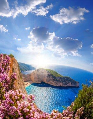 Papiers peints Navagio, plage, naufrage, fleurs, Coucher soleil, Zakynthos, île ...