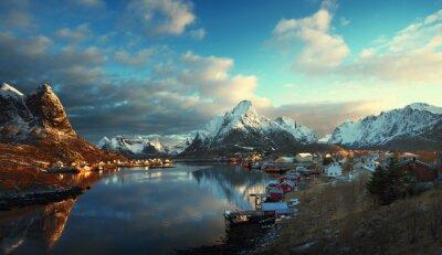 Papiers peints Neige à Reine Village, Lofoten, Norvège