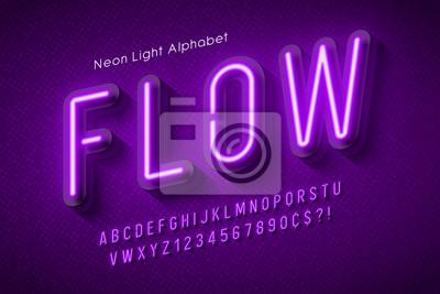 Papiers peints Neon light alphabet, multicolored extra glowing font.