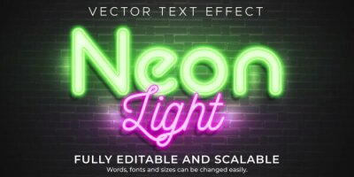 Papiers peints Neon light text effect, editable retro and glowing text style