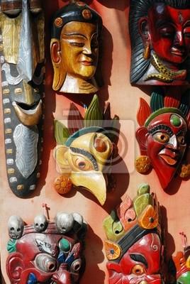 Népalais masques en bois