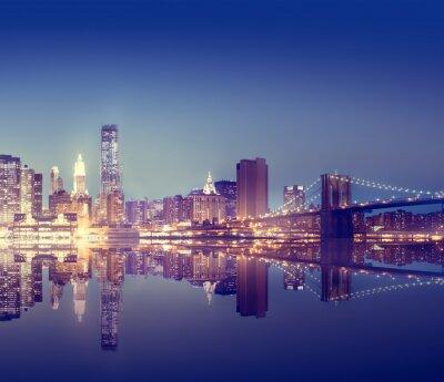 Papiers peints New York City Lights Scenic Bridgeview Concept
