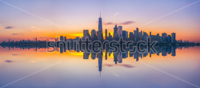 Papiers peints New York City Skyline Reflets sur le lee du soleil