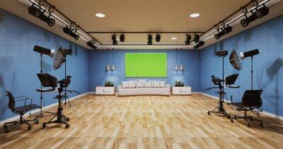 Papiers peints News studio blue room design Backdrop for TV shows.3D rendering