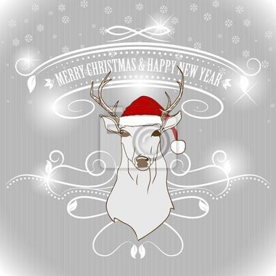 Noël cerfs carte de voeux