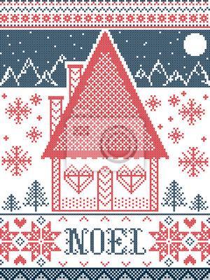 Noel Christmas pattern avec village des merveilles de l'hiver, éléments de modèle sans couture inspirés par l'hiver festif nordique au point de croix avec maison en pain d'épice, montagnes, coeur, flo