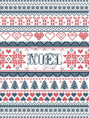 Noël motif vectoriel Noel inspiré par la culture nordique festive et hivernale au point de croix avec coeurs, cadeau de Noël, ornements décoratifs, flocon de neige, arbre de Noël, étoiles, neige en ro