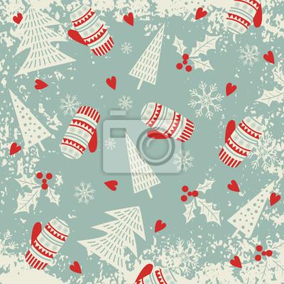 Noël, nouveau, année, modèle, mitaines, noël, Arbres Vacances d'hiver. Illustration vectorielle