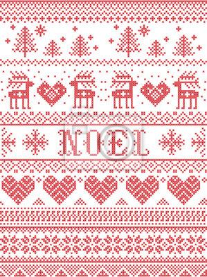 Noel tissu style scandinave sans couture, inspiré par Noël norvégien, motif d'hiver festif au point de croix avec renne, sapin de Noël, coeur, flocons de neige, neige, ornements décoratifs, rouge