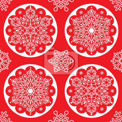 Papiers Peints Noël Vecteur Folk Pattern Blanc Flocon De Neige Mandala Seamless