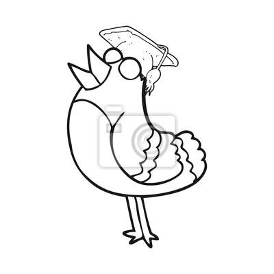 Papiers Peints Noir Blanc Dessin Animé Oiseau Porter Graduation Casquette