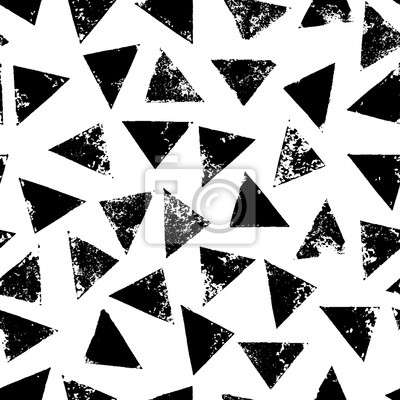 Noir Blanc Grunge Impression Triangles Geometrique Seamless