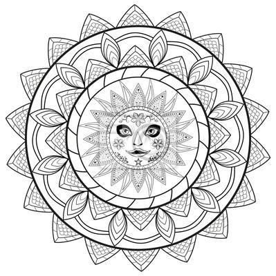 Papiers Peints Noir Blanc Mandala Vecteur Coloriage Livre Mandala Bianco